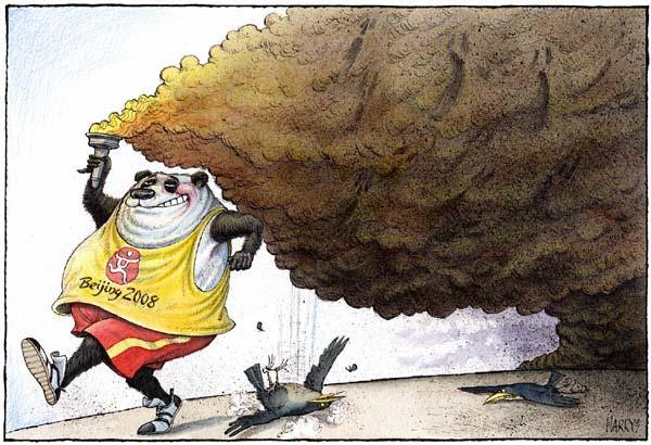 Карикатура на ситуацию с загрязнением воздуха в Пекине