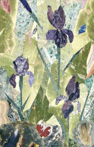 Пейзаж *Ирисы* (змеевик, офиакальцит, агат, мраморный оникс, яшма, родонит, лазурит, силицит, чароит). На картине цветы собраны из кусочков чароита. Единственное в России месторождение этого редкого минерала находится на реке Чара, протекающей на границе