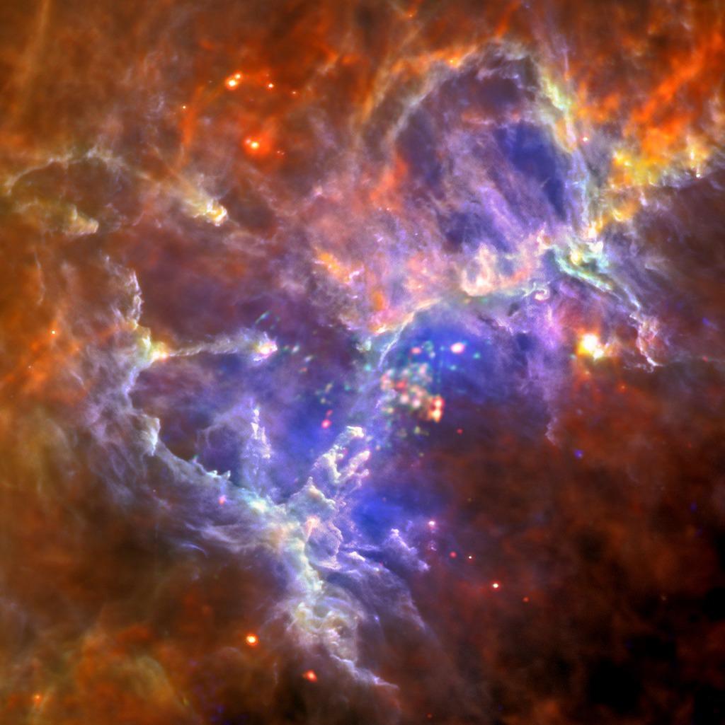 Молодое рассеянное звёздное скопление «Туманность Орёл» в созвездии Змеи. Ниже по центру — три знаменитых «Столпа творения». Фото: ESA/Herschel/PACS/SPIRE/Hil/XMM-Newton/EPIC