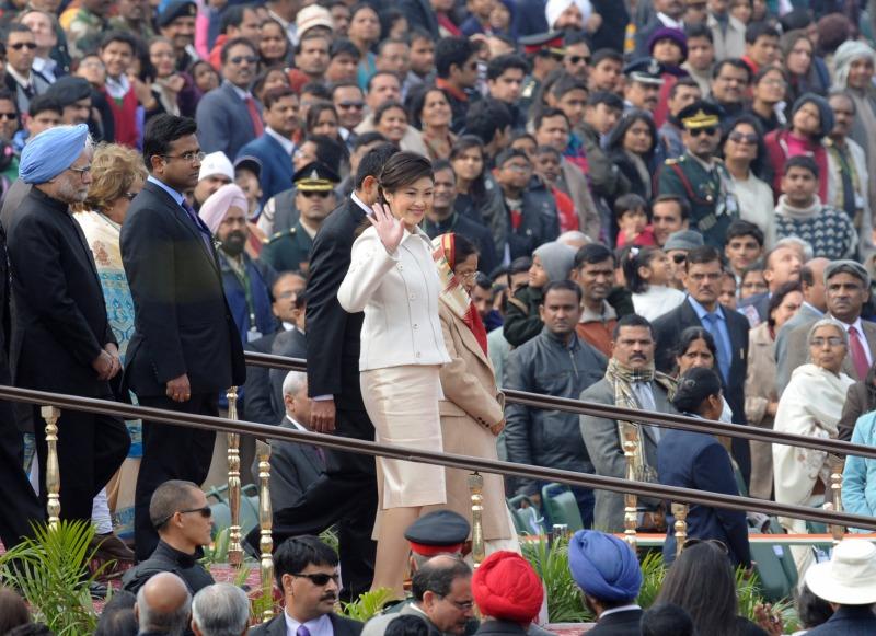 Прем'єр-міністр Таїланду Йінглак Чиннавата — почесний гість під час параду на честь Дня Республіки. Нью-Делі, Індія, 26 січня 2012 рік. Фото: RAVEENDRAN/AFP/Getty Images