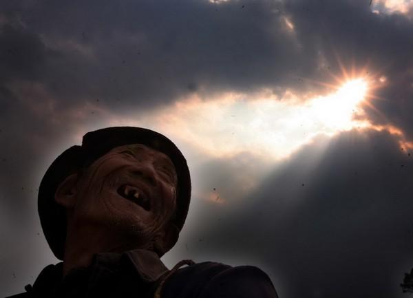 Лю смотрит на небо и с надеждой говорит: «Вот и тучи и ветер появились, наверняка пойдёт дождь». Но дождя всё нет и так длится уже почти полгода. Фото с aboluowang.com