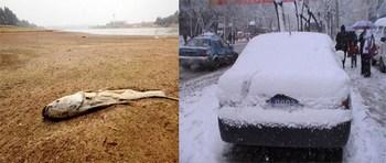 Контраст погоды в Китае: самая сильная за 100 лет засуха в одной части страны и сильные снегопады в другой