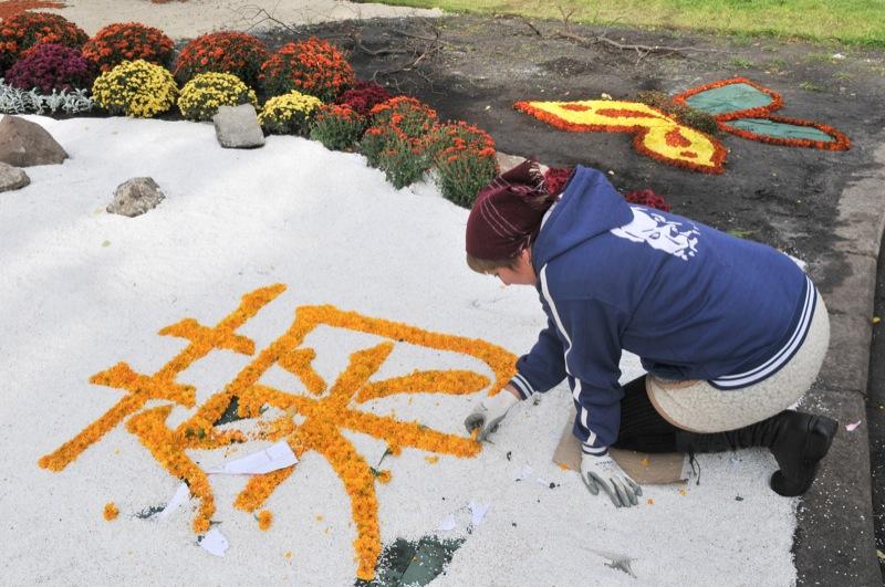 Женщина выкладывает из цветов иероглив означающий слово хризантема.. Фото: Владимир Бородин/The Epoch Times Украина