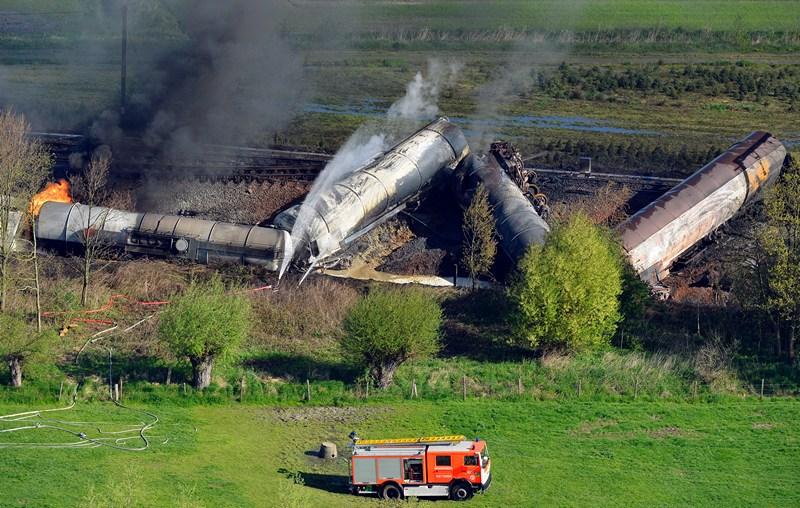 Гент, Бельгія, 4 травня. За 20 км на схід від міста вибухнув товарний потяг, що перевозив хімікати. Фото: BENOIT DOPPAGNE/AFP/Getty Images