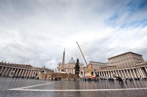 Рабочие на площади Сан-Пьетро установили 30-метровую елку. 90-летняя красавица, вес которой 14 тонн, прибыла в Ватикан из Бельгии. Площадь Сан-Пьетро (Святого Петра), Ватикан, Рим. Фото: ANDREAS SOLARO/AFP/Getty Images