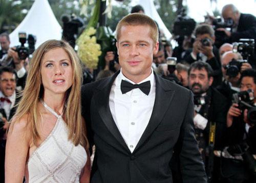 С бывшей супругой актрисой Дженифер Энистон. Фото: FRANCOIS GUILLOT/AFP/Getty Images