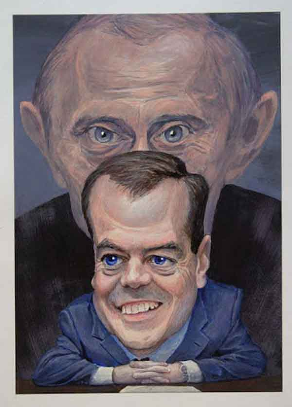 Карикатури на Путіна і Медведєва заборонили на Камчатської виставці. Фото: nr2.ru