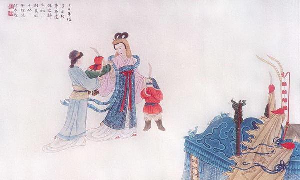 Двенадцать лет спустя Цао Цао прислал посыльного, чтобы сопроводить Цай Вэньцзи назад в Китай. Её дети плакали и просили мать остаться. Рисунок: Чжан Цуйин