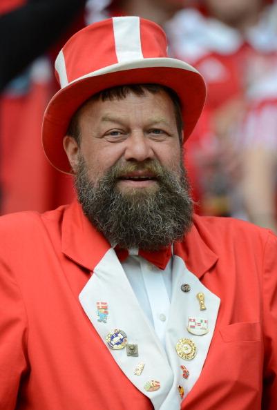 Датский фан на матче Дании и Португалии 13 июня 2012 года, Арена Львов. Фото: Damien MEYER/AFP/Getty Images
