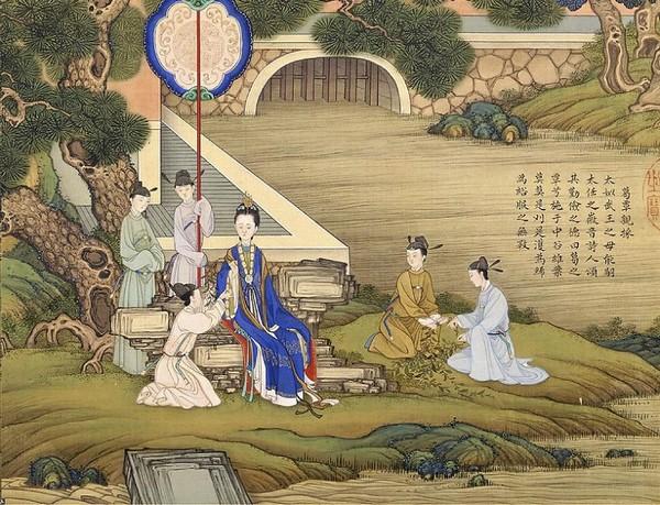 Тай Жэнь, мать правителя Вэнь Вана династии Западная Чжоу. Она была очень трудолюбивой и бережливой, часто она сама ходила собирать сырьё для изготовления ткани. Художник Цяо Бинчжэнь