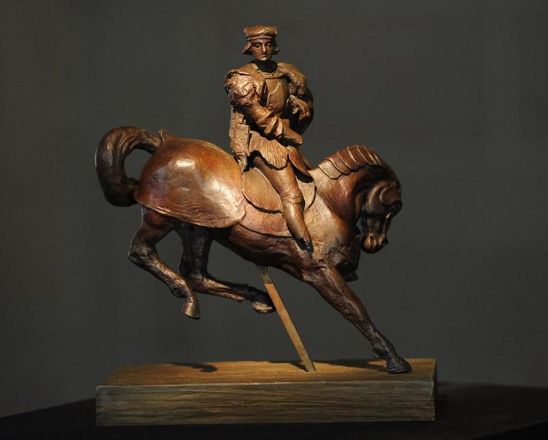 Беверли-Хиллз, США, 27 августа. Скульптура Леонардо да Винчи «Всадник и конь» впервые показана широкой публике в особняке Грейстоун. Фото: Michael Buckner/Getty Images