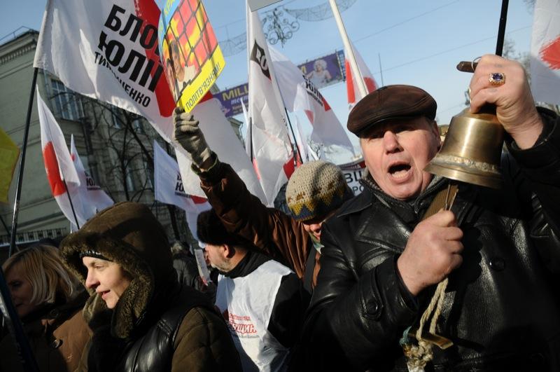 Сторонники оппозиции 25 февраля провели в Киеве акцию протеста против политики Януковича. Фото Владимир Бородин/Великая Эпоха