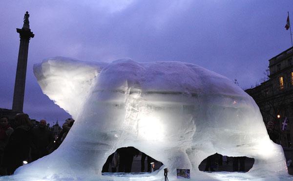 Скульптура белого медведя, вырезанная изо льда, установлена на площади Трафальгар в Лондоне. Она напоминает лидерам ведущих стран о полярных обитателях, перед которым встала проблема выживания из-за постепенно таяния льдов. Фото: CARL DE SOUZA/AFP/Getty