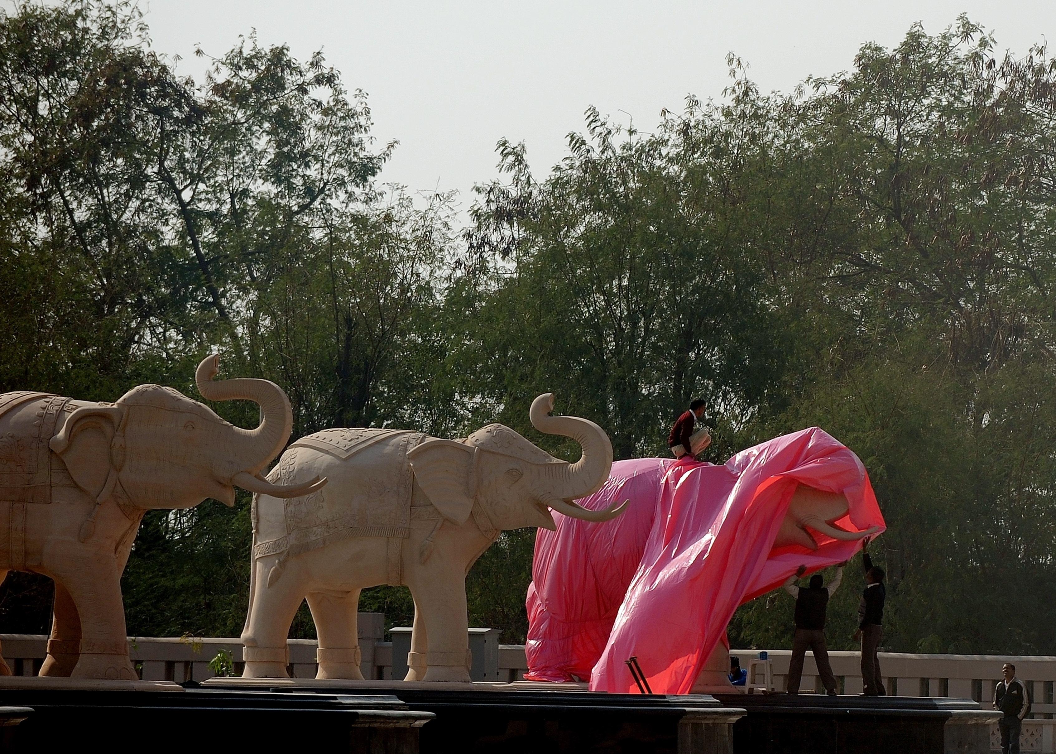 В Индии в преддверии выборов спешно накрывают статуи слонов. Фото: MANAN VATSYAYANA/Getty Images