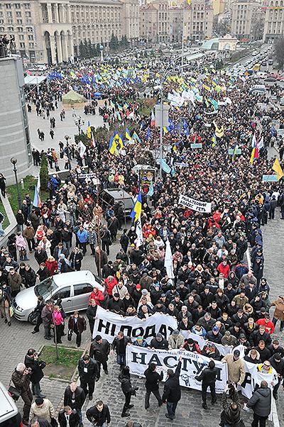 Масовий протест підприємців у Києві 22 листопада проти нового Податкового кодексу. Фото: Володимир Бородін / The Epoch Times Україна