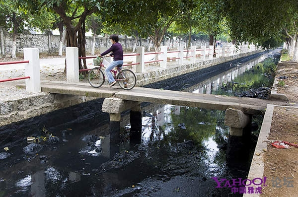 Вода в реке стала чёрной от сильного загрязнения. Район города Шаньтоу провинции Гуандун. Фото с aboluowang.com