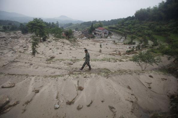 Зсуви викликали серйозні руйнування в провінції Хунань, Китай. Фото: STR/AFP/Getty Images