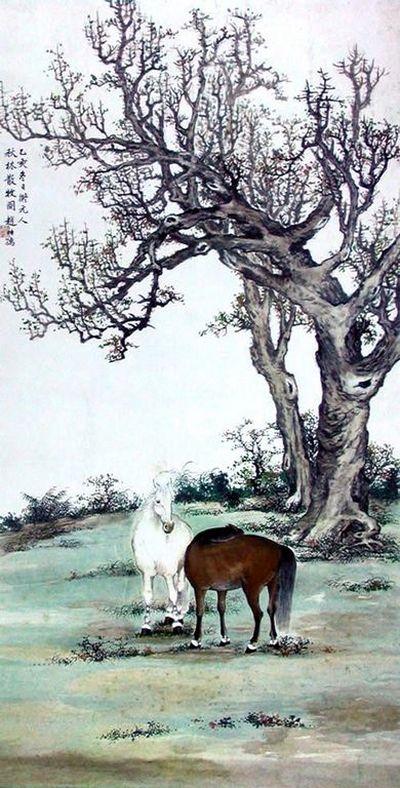 Коні, що пасуться. 1929 р. Художник: Чжао Ши