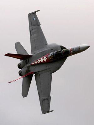 Истребитель F18F Super Hornet участвует в международном авиашоу. Фото: Mark Dadswell/Getty Images