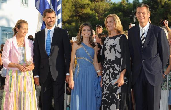 Гості на весіллі принца Греції Ніколаоса і Тетяни Блатнік. Принцеса Олена з Іспанії, принц Філіп з Іспанії, принцеса Летиція з Іспанії принцеса Крістіна з Іспанії та Інакі Ардангарін. Фоторепортаж. Фото: Chris Jackson / Getty Images