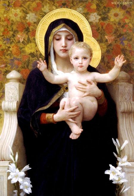 Уильям Адольф Бугеро. Мадонна с лилиями. Частная коллекция. Изображение: Art Renewal Center, http://artrenewal.org