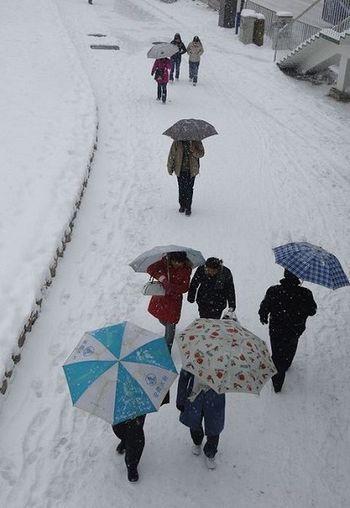 27 января, г.Хэфэй провинции Анхуэй. Из-за непогоды остановлен транспорт, люди вынуждены передвигаться пешком. Фото: AFP
