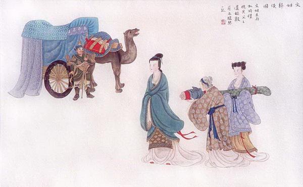 Отправляясь к гуннам, Цай Вэньцзи взяла с собой только уцелевшие свитки своего отца и цитру. Рисунок: Чжан Цуйин