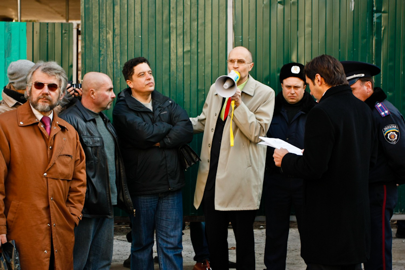 Киевские активисты призывают остановить строительство на Гончара 17-23. Фото: Евгений Довбуш/The Epoch Times Украина