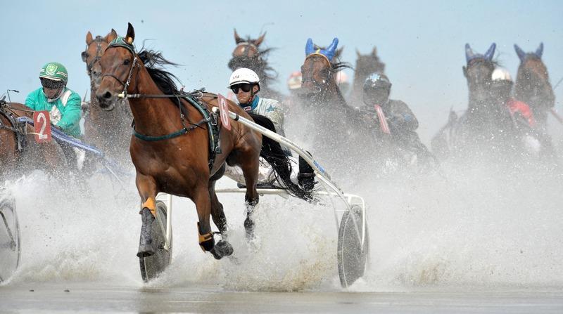 Куксхафен, Германия, 15 июля. Традиционные гонки на лошадях «Duhner Wattrennen» собрали в этом году свыше 30 тыс. зрителей. Фото: CARMEN JASPERSEN/AFP/GettyImages