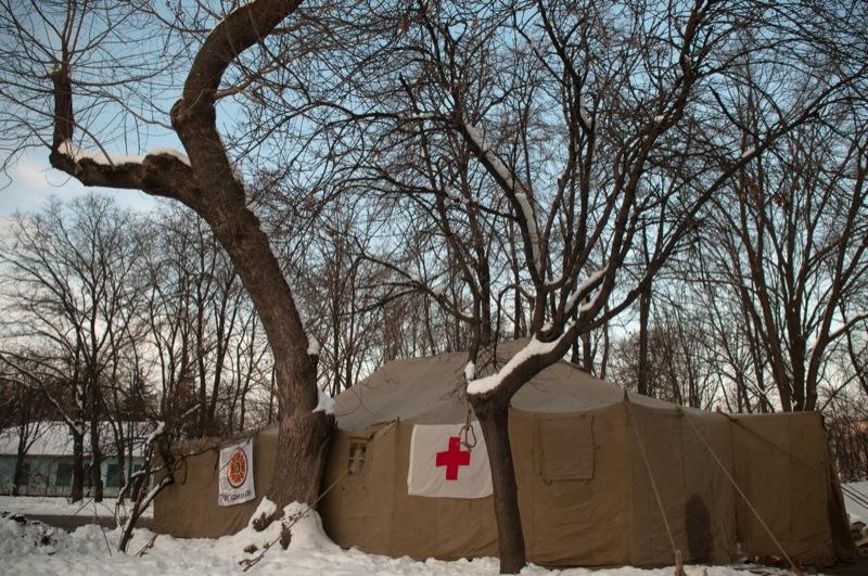 Пункт обогрева людей установленный МЧС в Подольском районе Киева. Фото: Владимир Бородин/The Epoch Times Украина