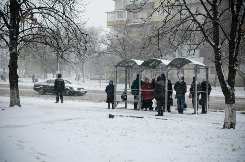 Перший сніг у Києві супроводжувався поривчастим вітром та налипанням. Фото: Володимир Бородін/Велика Епоха
