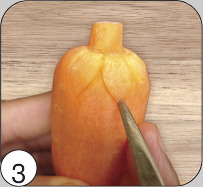 Толстый конец заготовки разделить визуально на 6 частей и вырезать 6 чешуек-лепестков по кругу. Глубина прореза 2—3 мм.