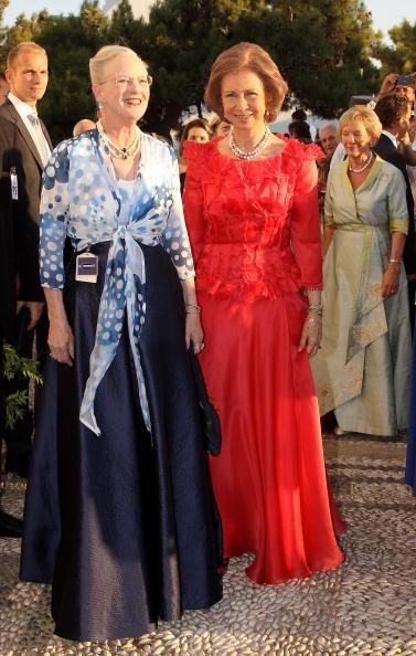 Гости на свадьбе принца Греции Николаоса и Татьяны Блатник. Королева Дании Маргретта и королева Испании София. Фоторепортаж. Фото: Chris Jackson/Getty Images
