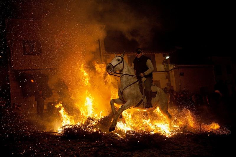 Сан-Бартоломе-де-Пинарес, Испания, 16 января. Всадник направляет лошадь через костёр во время праздника святого Антония, покровителя животных. Фото: Pablo Blazquez Dominguez/Getty Images