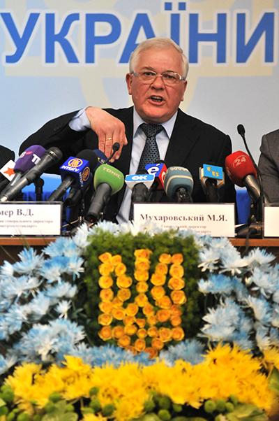 Генеральный директор ГП «Укрметртестстандарт» М. Мухаровский на пресс-конференции в 15 марта 2011 года. Фото: Владимир Бородин/The Epoch Times Украина