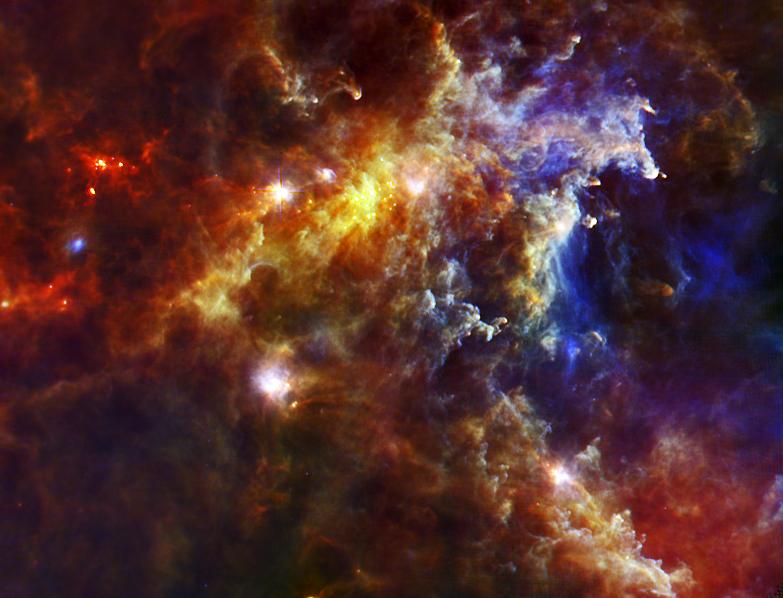 Молекулярное облако внутри туманности Розетка (созвездие Единорога). Ветер, создаваемый горячими молодыми звёздами, образует из вещества туманности причудливые формы. Фото: ESA/PACS & SPIRE Consortium/HOBYS Key Programme Consortia