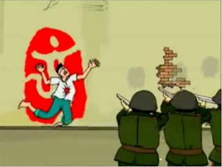 Карикатура на происхождение символа Олимпийских игр 2008 в Пекине