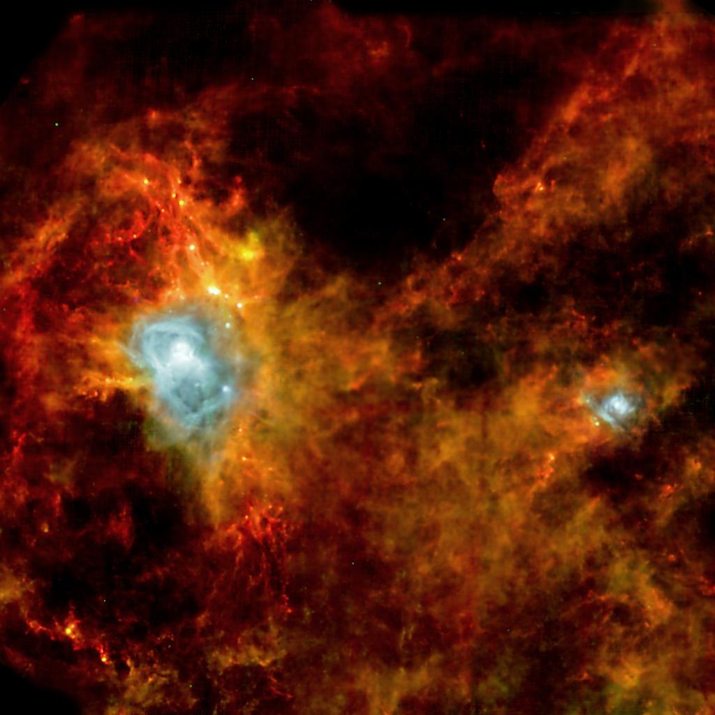 Часть диска из очень молодых звёзд и протозвёзд, именуемого «пояс Гулда», в созвездии Орла. Диск диаметром около 3 тыс. световых лет имеет наклон к плоскости нашей галактики до 20 градусов. Фото: ESA and the SPIRE & PACS consortia