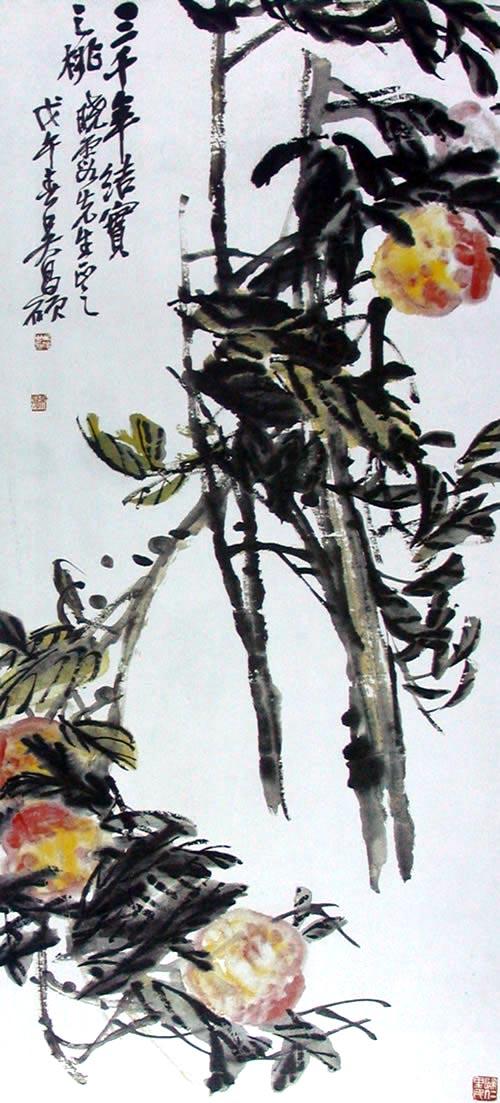 Персик, дающий плоды раз в три тысячи лет. Художник У Чаншо. 1918 г. Фото с secretchina.com