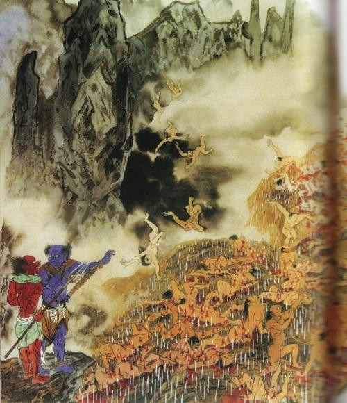 Пятый уровень ада, им управляет Ен Ло Ван. Это место ада называется «Гора с ножами». Те, кто попирал праведные религии и клеветал на мудрых и добродетельных людей, те, кто занимался подделкой товаров и лекарств, попадают сюда. Фото: Цзян Ицзы