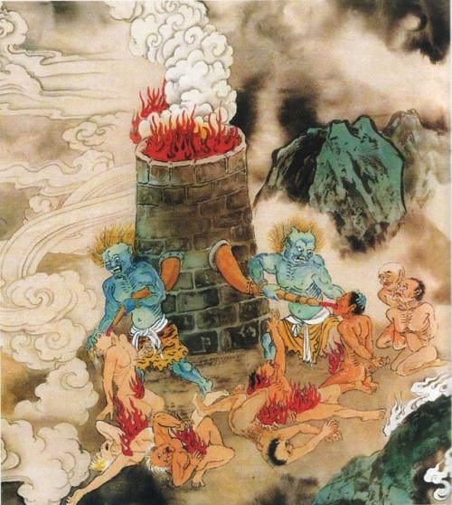 Восьмой уровень ада, им управляет Ду Ши Ван. Здесь в рот грешникам заливают раскалённое железо, от чего у них сгорают все внутренности, они истошно орут. Сюда попадают те, кто создал много грехов своими словами. Фото: Цзян Ицзы