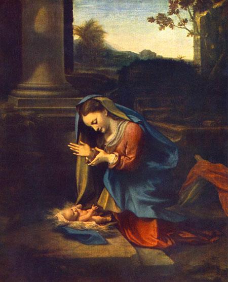 Корреджо. Мадонна, поклоняющаяся Младенцу. Галерея Уффици, Флоренция, Италия. Изображение: Art Renewal Center, http://artrenewal.org