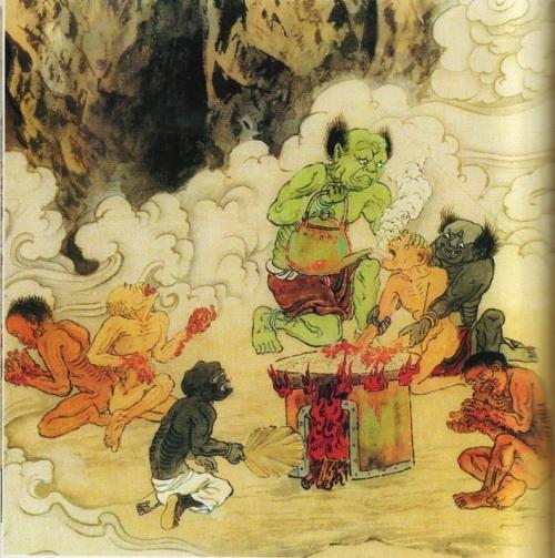 Четвёртый уровень ада, им управляет У Куан Ван. Это место где грешникам в рот заливают кипяток, а руки обжигают в раскалённом на огне песке. Те, кто при жизни любил лакомиться дарами моря, попадают сюда. Фото: Цзян Ицзы