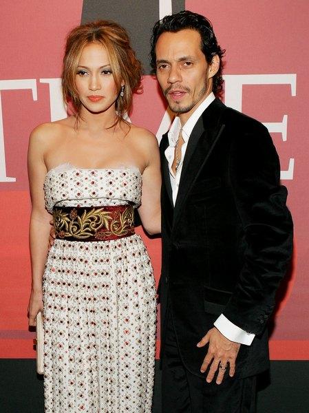 Дженніфер Лопес з чоловіком співаком Марком Ентоні взяли участь у святкуванні журналу «Time Magazine» на честь вибору 100 найбільш впливових людей року, 8 травня 2006 року. Фото: Evan Agostini / Getty Images