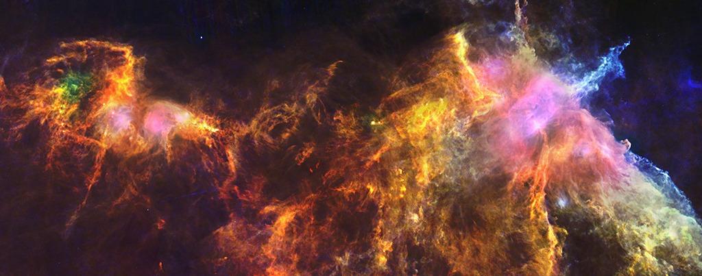 Молекулярное облако в созвездии Ориона (удалено от нас на 1300 световых лет). Яркий столб вещества справа-кверху — туманность Пламя. Справа по центру можно заметить туманность «Конская голова». Фото: ESA/Herschel/PACS/SPIRE