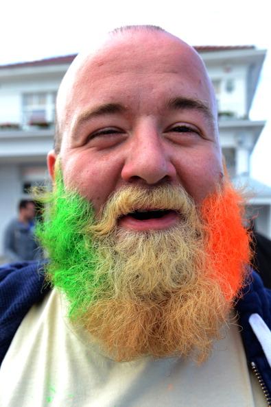 Ирландский болельщик с бородой, окрашенной в цвета ирландского флага, 15 июня 2012 года. Фото: PATRIK STOLLARZ/AFP/Getty Images