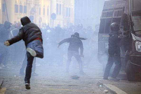 У Римі тривають акції протесту.Фото:FILIPPO MONTEFORTE/Getty Images