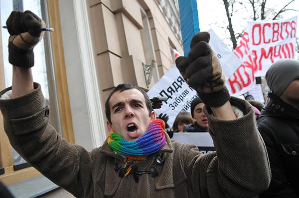 Акція протесту студентів проти нового законопроекту про вищу освіту пройшла в Києві 31 січня 2011 року. Фото: Володимир Бородін/The Epoch Times Україна