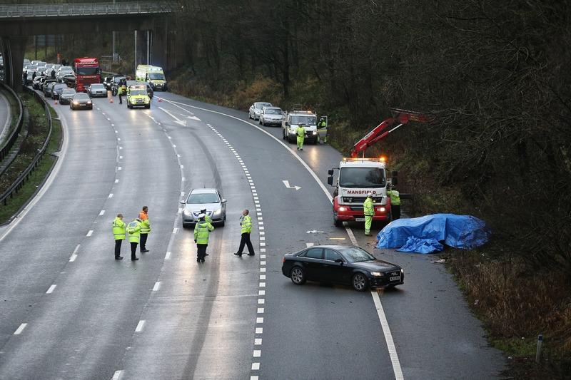 Стаффордшир, Англія, 25грудня. П'ятеро людей загинули в ДТП на крупній автотрасі М6, розташованій на півночі країни. Фото: Christopher Furlong/Getty Images