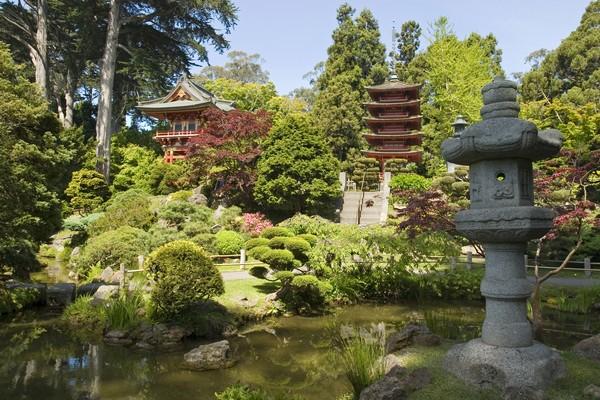 Дизайн сада: фонарь мира и пагода.